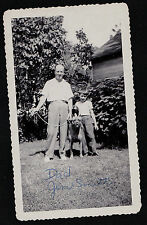 Vintage Antique Photograph Man & Little Boy With Large Pitbull? Dog