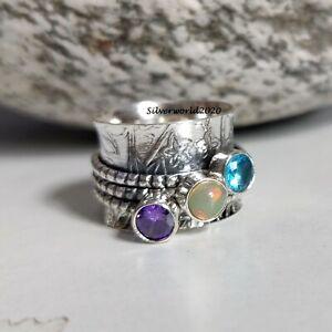 Blue Topaz Spinner Ring 925 Sterling Silver Plated Handmade Ring Size 7 JP341