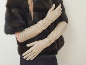 Long genuine leather gloves, opera elbow gloves - 18 inches / 46 cm. TOUCHSCREEN