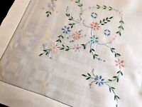 Vintage Hand Embroidered White Linen Table Cloth 35x36  Inches