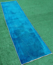 Turkish Rug 29''x122'' Hand-knotted Color Transition Blue Runner 75x312cm