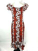 New KY's Hawaii Womans Dress Hi-Low Hem Ruffle Trim Cotton Floral Sz Small