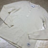 B-785 Ovadia & sons 100% Wool waffle henley sweater CREAM sz XL nwot