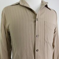 THE TERRITORY AHEAD 100% SILK LONG SLEEVE BEIGE BUTTON DOWN SHIRT MENS SIZE L