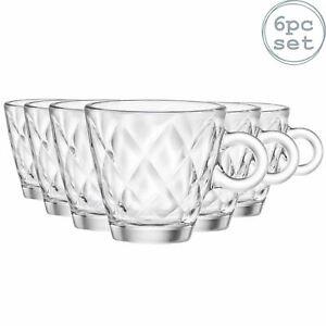 Espresso Coffee Glasses Clear Cups 100ml, Bormioli Rocco Kaleido - Set of 6