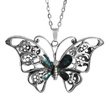 Butterfly Pendant Necklace Clear Rhinestone with Oval Chain 26inch 66cm