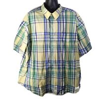 CHAPS Easy Care Mens Casual S/S Button Down Shirt Green Yellow Plaid - 4XB Big