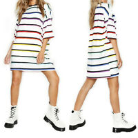 Womens Boyfriend Stripe Oversized T Shirt Dress Casual Tee Baggy Loose Long Tops