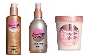 Victoria's Secret PINK Coconut Radiant Body Bronzer /Self-Tanning Water /Polish