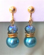 "Stunning CLIP ON Earrings Aqua Blue Pearl & Crystal 1.7"" Long *Gold tone"