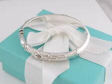 Rare Auth Tiffany & Co Silver Nature Rose Bangle Bracelet