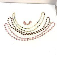 "Swarovski necklace 34""-36"" and bracelet 7"" lot pink red clear gold tone"