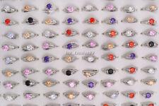 wholesale lots 20pcs 100% Zirconia Engagement Wedding 18K Silver Plate Rings