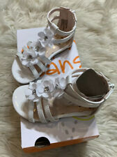Jumping Beans Toddler Girls Sandal 7T White Sparkle Flowers New In Box Cushioned