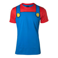 NEW! Nintendo Super Mario Bros. Mario Novelty Cosplay T-Shirt Male Large Multi-C