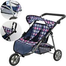 More details for 3 wheel twin dolls stroller pushchair baby doll buggy pram & storage basket toy