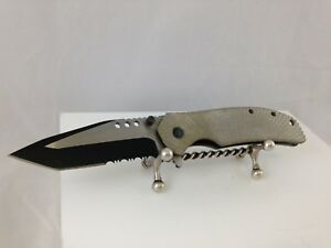 GREY RIGGED HANDLE POCKET KNIFE BLACK/WHITE TANTO BLADE HOLLOW HANDLE W CLIP