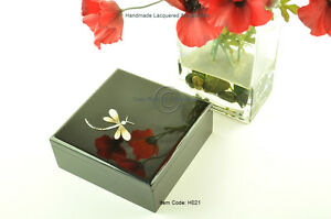 Decorative Handmade Lacquered Inlaid Wooden Square Box, Black Small H021S