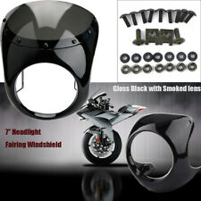 Motorcycle 7'' Round Handlebar Fairing Windshield & Bracket Mount For Cafe Racer