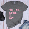 Sleeve Graphic Tees Loose Blouse Letter Print T-shirt WEEKENDS COFFEE DOGS