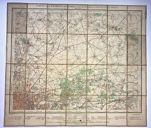 NORTHEAST PARIS FRANCE 1906 ANDRIVEAU-GOUJON LARGE ANTIQUE FOLDING MAP ON LINEN