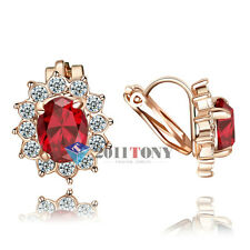 18K Rose Gold Plated Swarovski Crystal Simulated Ruby Clip-on Earrings Jewellery