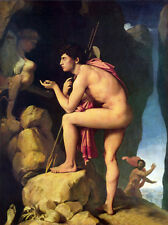 Huge Oil painting Ingres - Oedipus and the Sphynx Nude strong man canvas 36""