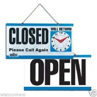 Double-Sided Open/Closed/Will Return Sign with Clock Hands, 6 Inch x 11.5 Inch