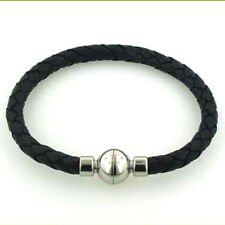 Black Leather and Stainless Steel Bracelet Length 21cms