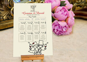 Personalised Wedding Seating Plan Planner Table Plans Character Design