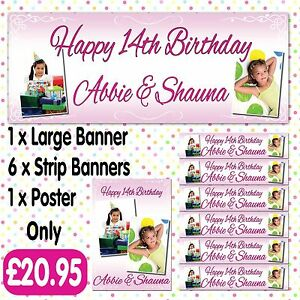 PERSONALISED 2 PHOTO PARTY BANNERS BIRTHDAY PACKS ANY AGE NAME EVENT A005