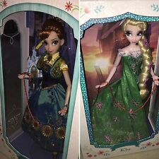"Disney Store Deluxe Limited Edition 17"" Frozen Fever Anna & Elsa Dolls Set NRFB"