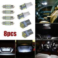8x White LED Bulb For Car Dome Map License Plate Light Interior LED Package Kit