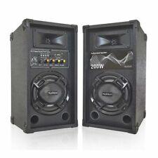COPPIA CASSE AMPLIFICATE KARAOKE 200W LED + BLUETOOTH + USB DIFFUSORI ATTIVI MP3