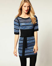 Boat Neck Tunic Striped Dresses for Women