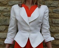 Vintage 1980s Thierry Mugler Paris White Tailored Jacket Chains M 12