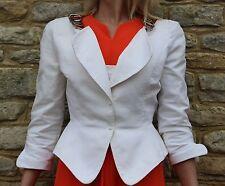 Vintage 1980s Thierry Mugler Paris White Tailored Jacket Chains M 12