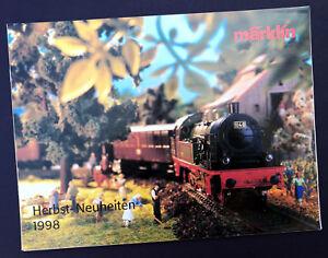 """Märklin Eisenbahn Katalog """"Herbst Neuheiten 1998"""", DIN A4, 16 Seiten, Neu!"""