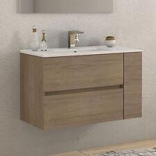 Mobile bagno moderno 90 cm rovere design sospeso cassettoni e anta softclose