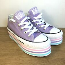 Converse All Star Women's Platform Purple Striped Shoes Trainers - UK Size 3