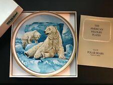 Nib Vintage Lenox American Wildlife Polar Bears Collector Plate by Norman Adams
