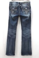 medium wash distressed ROCK REVIVAL Jen boot cut jeans stretch denim 28