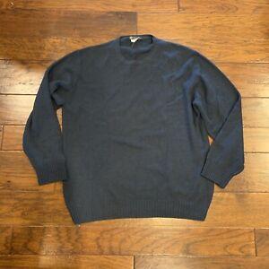 Loro Piana Mens Cashmere Crewneck Sweater size 54 XL Blue Green Luxury Italy