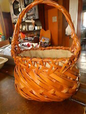 picnic sewing storage basket with handle and drawstring burlap like cover up
