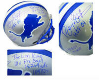 BARRY SANDERS Signed Lions Riddell T/B Proline STAT Helmet w/7 Inscriptions - SS