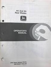 John Deere Operators Manual 45 & 65 Rear Blades #Omw38927 Used