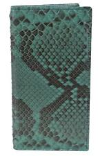New Gucci Men's 03948 Green Python Snakeskin Vertical Chest Pocket Bifold Wallet