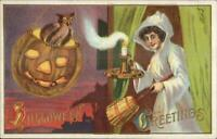 Halloween Owl in JOL Witch? Pretty Woman White Cloak #116 c1910 Postcard