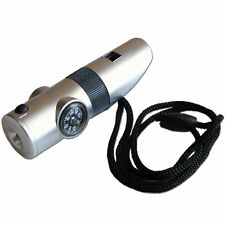Emergency Whistle Survival Kit 7 in 1 Silver - Compass LED Light & More!