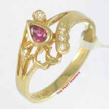 18k Solid Yellow Gold Genuine Diamonds, Natural Red Pear Ruby Cocktail Ring TPJ